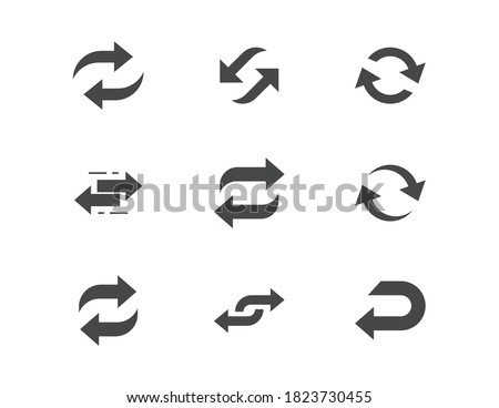 Reverse flat glyph icons. Vector illustration included icon as swap, flip, currency exchange, switch, repeat replace silhouette pictogram of two circle arrows. Foto stock ©