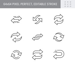 Reverse line icons. Vector illustration included icon as swap, flip, currency exchange, switch, repeat replace outline pictogram of two circle arrows. 64x64 Pixel Perfect Editable Stroke.