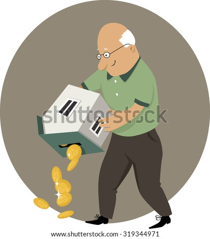 Reverse mortgage. An elderly man holding a piggy bank in a form of a house upside down, money pouring out, EPS 8 vector cartoon, no transparencies