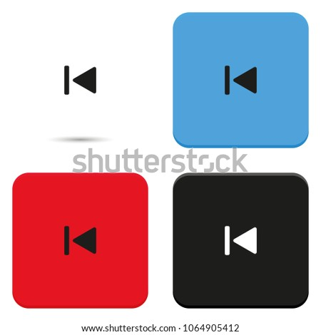 Reverse play button flat vector icon. Media player control sign.