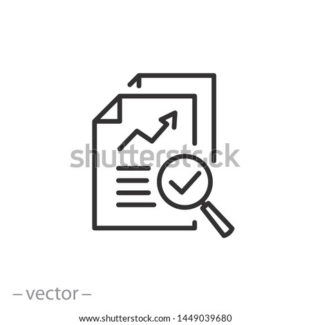 review audit, overview risk icon, verification business, thin line symbol for web and mobile phone on white background - editable stroke vector illustration eps10