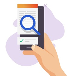 Review expertise text content online, digital document file check analysis, article inspect analysis concept, law legal proof searching on electronic data, editing essay on mobile phone vector flat