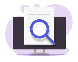 Review expertise text research content online on pc, digital document file check analysis on computer, article inspect analysis concept, law legal proof information searching, editing essay vector