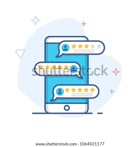 Review ,feedback, rating bubble speech on smartphone vector illustration, line mobile phone reviews stars / testimonials messages