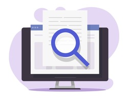 Review quality control, expertise text research content online on computer pc, digital document file evidence check analysis, article inspect concept, law legal proof information searching or editing