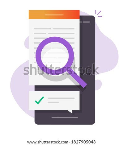 Review quality control, expertise text research content online on phone, digital document file evidence check analysis, article inspect concept, law legal proof information searching or editing vector Сток-фото ©