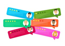 Review rating bubble speeches comment.Vector cartoon character illustration icon.Decision,grading system,reviews stars rate,text,feedback evaluation user,negative online messages,hotel comment set