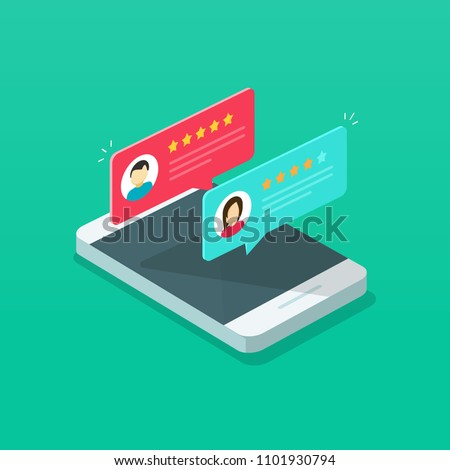 Review rating on mobile phone vector illustration, cartoon isometric smartphone online reviews rate stars, concept of testimonials messages, notifications, customer feedback or experience on cellphone