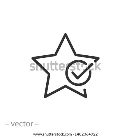 review star icon, best valuation, value favorite, good evalution, solution thin line symbol on white background - editable stroke vector illustration eps10 Stockfoto ©