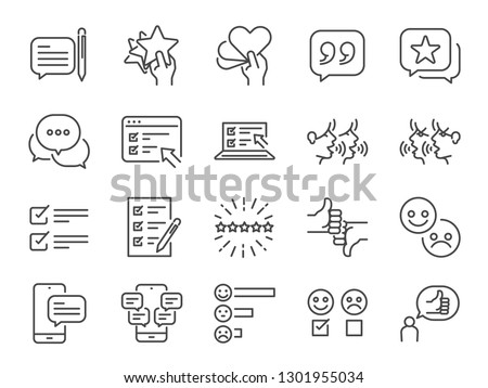 Reviews line icon set. Included icons as review score, feedback, testimonial, comment, survey and more.