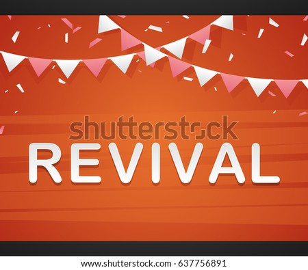 revival on red background with