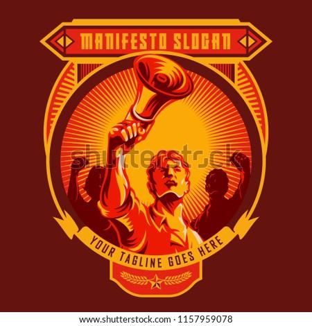 revolution badge of men holding
