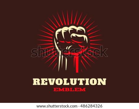 revolution hend up emblem...