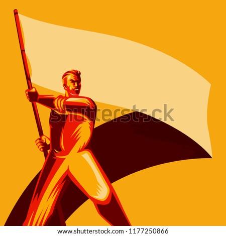 revolution poster man holding
