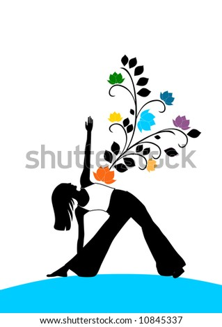Revolved triangel pose silhouette with colorful flowers.