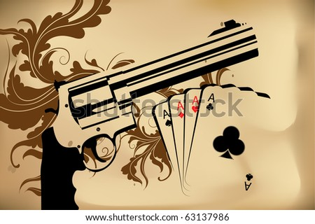 Revolver and playing cards on brown background