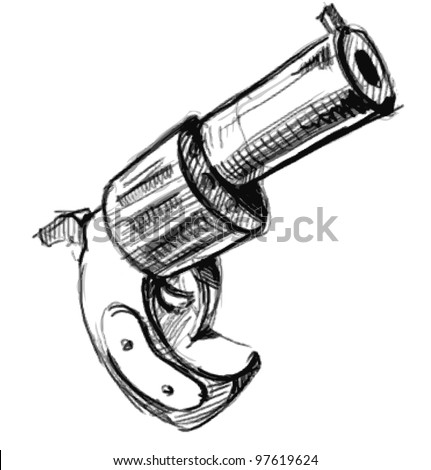Western Pistols Drawing Revolver Icon Hand Drawing