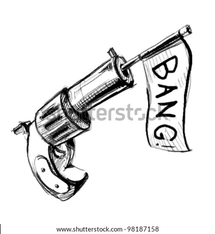 Revolver icon with checkbox.  Hand drawing sketch vector illustration isolated on white background