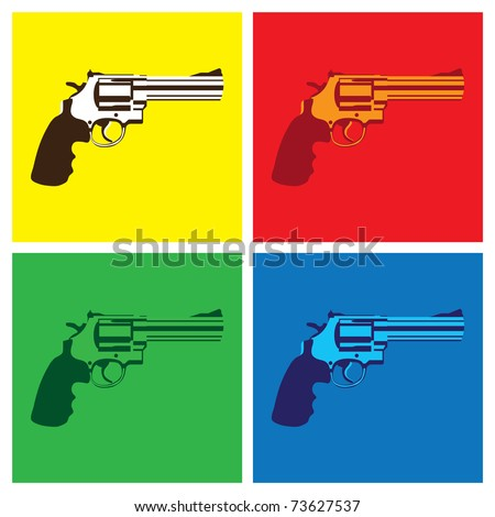 revolver in pop-art style - illustration