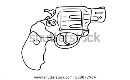 revolver on a white background