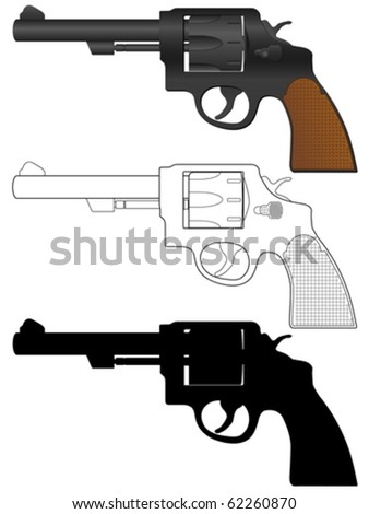 Revolver set on a white background. Vector illustration. - stock vector