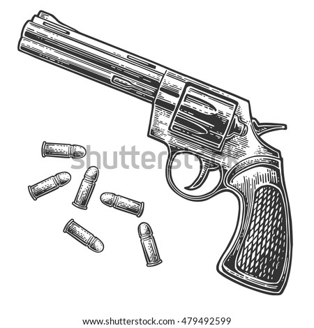 revolver with bullets vector