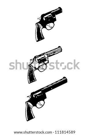 Revolvers vector guns, black isolated on white background - vector illustration image