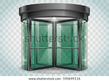 Revolving door shopping center, railway station . Vector graphics with transparency effects Foto stock ©
