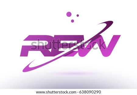 rew r e w  alphabet letter logo combination purple pink creative text dots company vector icon design template