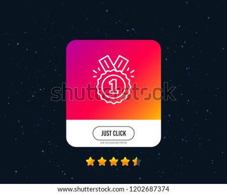 Reward Medal line icon. Winner achievement or Award symbol. Glory or Honor reward medal sign. Web or internet line icon design. Rating stars. Just click button. Vector