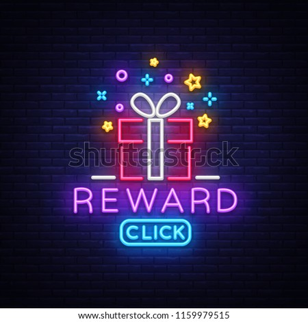 Reward Neon Sign Vector. Gift neon sign, Win super prize design template, modern trend design, night neon signboard, night bright advertising, light banner, light art. Vector illustration