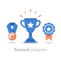 Reward program, winner cup, first place bowl, game trophy, win super prize, achievement and accomplishment concept, earn points, medal vector icon, flat illustration