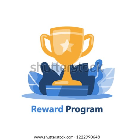 Reward program, winner golden cup with a star, competition trophy, big accomplishment, yellow bowl, excellence award, long term goal, first place, vector icon, flat illustration