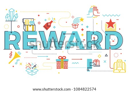 Reward word lettering illustration with icons for web banner, flyer, landing page, article, etc.