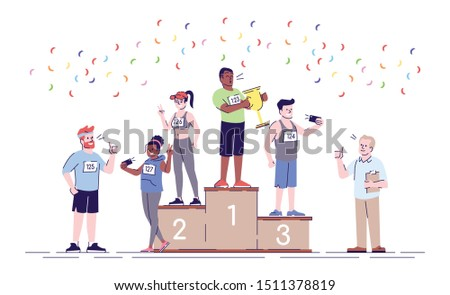 Rewarding winners of marathon flat vector illustration. Sport activity. Champions of endurance contest. Leaders of competition standing on podium isolated cartoon character on white background