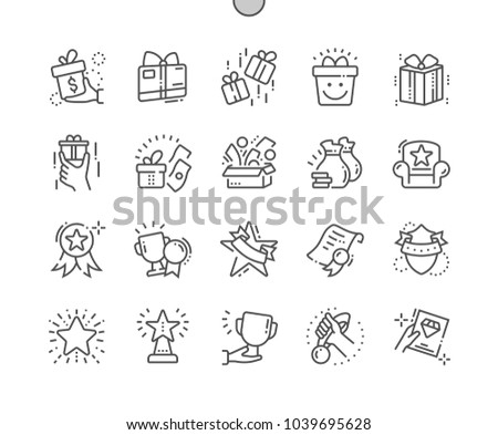 Rewards Well-crafted Pixel Perfect Vector Thin Line Icons 30 2x Grid for Web Graphics and Apps. Simple Minimal Pictogram