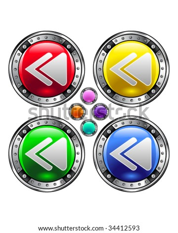Rewind or reverse media player icon on round colorful vector buttons suitable for use on websites, in print materials or in advertisements.  Set includes red, yellow, green, and blue versions.