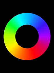 RGB color circle on white background, vector, rainbow circle fade