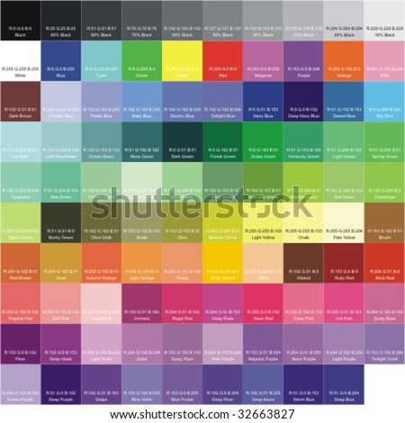 RGB color palette with the signatures of colors