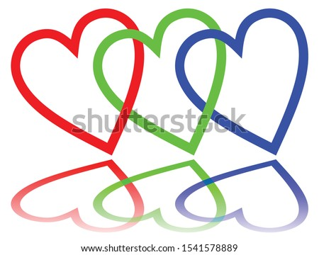 RGB color space designed like hearts with mirror image, basic red, basic blue and basic green.