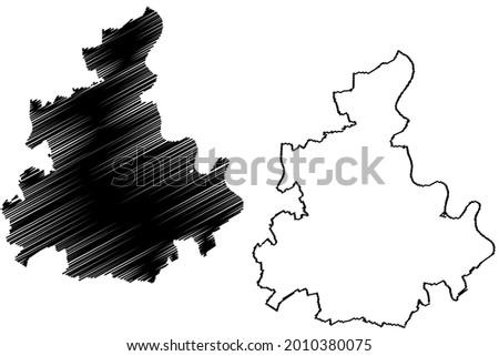 Rhein-Kreis Neuss district (Federal Republic of Germany, State of North Rhine-Westphalia, NRW, Dusseldorf region) map vector illustration, scribble sketch Rhein Kreis Neuss map Stock foto ©
