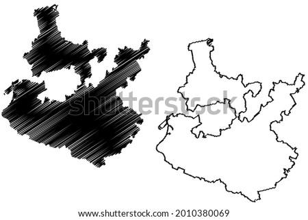 Rhein-Neckar district (Federal Republic of Germany, rural district, Baden-Wurttemberg State) map vector illustration, scribble sketch Rhein Neckar Kreis map Stock foto ©