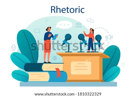 Rhetoric or elocution school class. Voice training and speech improvement. Public speaking and voice projection techniques. Isolated flat vector illustration Stock photo ©