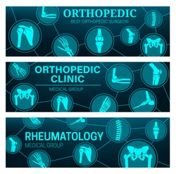 Rheumatology and orthopedic medical clinic vector banners with joints and bones anatomy. MRI and CT scans of arthritis pain diagnostics with leg, hand, knee and spine, foot, pelvis, shoulder and elbow
