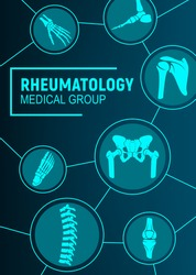 Rheumatology, joints and rheumatic disorder medical health care. Vector human skeleton parts hand, foot and pelvis, spine, knee and shoulder joints mri or computed tomography, medicine
