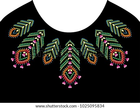 Rhinestone applique for t-shirt hot-fix transfer, Motif neck line design graphics, Abstract beautiful applique rhinestones.