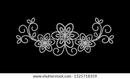 Rhinestone Applique Print for Textile, Crystal Embellishment for Fashion Apparel, Jewelry Ornament for Hotfix Transfer