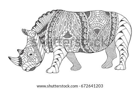 Rhino animal zentangle and stippled stylized. Rhinoceros vector, illustration, pattern. Zen art. Black and white illustration on white background. Adult anti-stress coloring book.