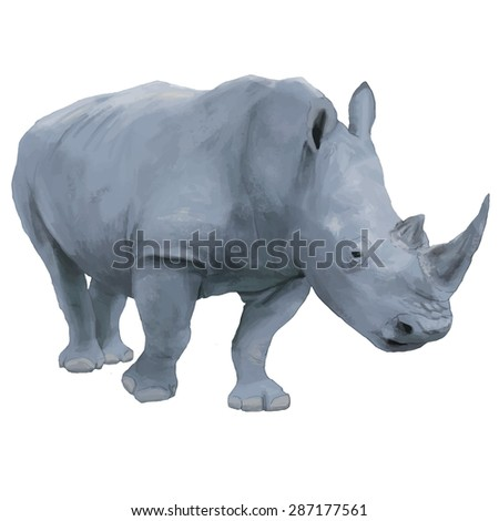 rhino hand drawn vector