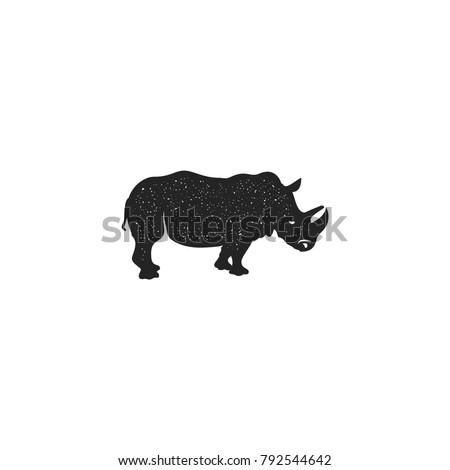 Rhino icon silhouette design. Wild animal symbol and element isolated on white background. Vintage hand hand animal pictogram. Stock vector illustration of rhinoceros.